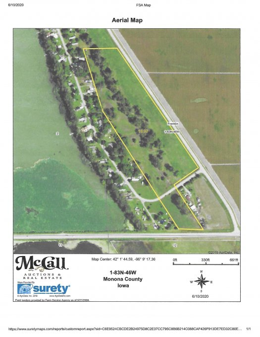 Here is an over the top aerial showing the approximate outline of the Brome Land with the Mature Trees Parcel.